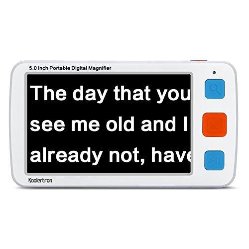Digital Video Magnifier, 5.0 Zoll Handportable Mobile Elektronische Lesehilfe Leselupen für sehbehinderte, Senioren, Makuladegeneration, Menschen mit hoher Kurzsichtigkeit. (weiß)