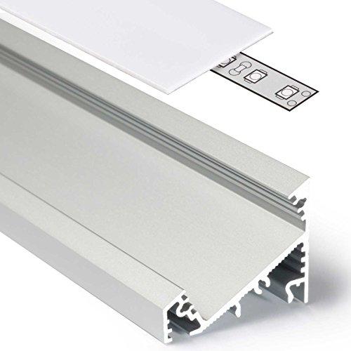 2m Aluprofil CORNER27 (CO27) Ecke 2 Meter Aluminium Eckprofil-Leiste eloxiert für LED Streifen - Set inkl Abdeckung-Schiene milchig-weiß opal mit Montage-Klammern und Endkappen (2 Meter milchig slide) - Beleuchtung Slide