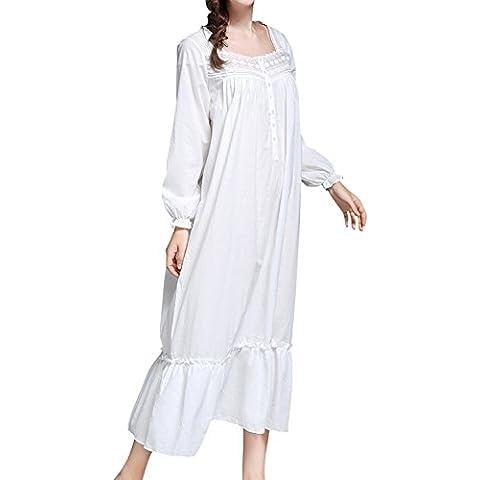 DoreKim Blanca atractiva de las mujeres 100% de algodón de manga larga noche noche Dress pijama blanco DK7212 (S)