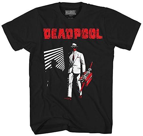Marvel Men's Dead Noir Short Sleeve T-Shirt, Black, Large