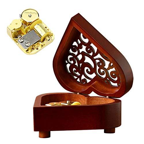 Aivtalk cassetta musica in legno regalo creativo san valentino scatola musicale a forma di cuore vintage scatola a musica meccanica decorazione di camera regalo natale 3colori