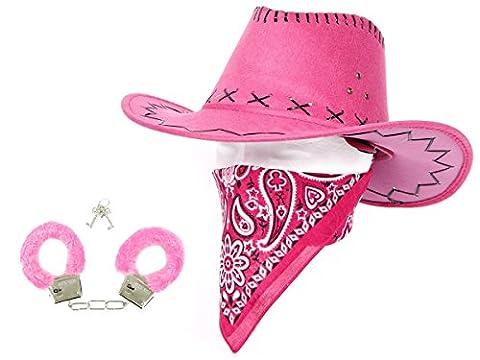 Kit de déguisement cowboy pink rose: 3 pièces: chapeau + bandana + menottes (KV-29) Wild West Western country mexicain taille unique pour adulte de qualité supérieure lux très classe accessoire festif idéal pour les fêtes pour se déguiser ou marquer l'événement déguisement pour fille femme homme animation spectacle théâtre festival carnaval idée de cadeau de noel ou fête de fin