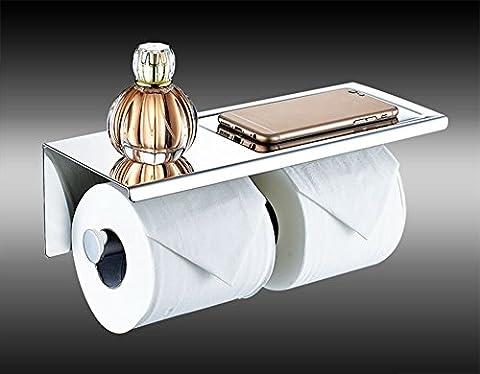 Doppel-Toilettenpapierhalter, PDFans SUS 304 Edelstahl WC-Rollenhalter,3M-Kleber WC-Papierhalter mit Ablage für