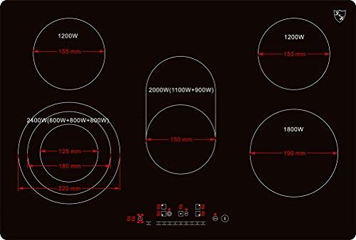 K&H® 5 Zonen Glaskeramikkochfeld 77cm Elektro Autark rahmenlos NC-8608