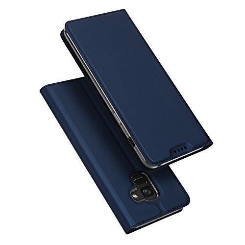 DUX DUCIS Samsung Galaxy A8 2018 Hülle, Handyhülle [Standfunktion] [1 Kartenfach] [Magnetverschluss] Ultra Dünn, Slim Flip Case Cover,Ledertasche Schutzhülle für Galaxy A8 2018 (Blau)