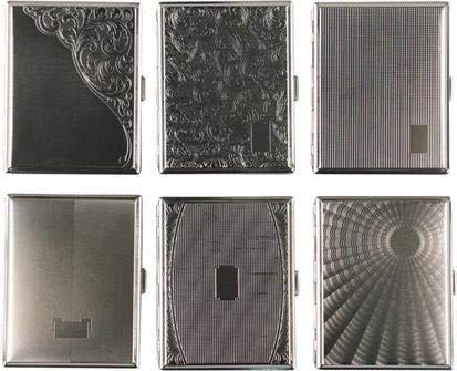 Cool Zigaretten Etui aus Metall für 16Zig. sortierte Designs mit Gummiband (1 Stück) (1) Metall-etui