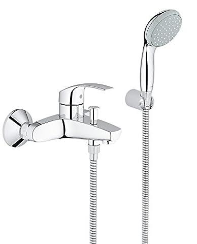 GROHE 33302002 Eurosmart Bath Tap with Shower Set including Hand shower, Hose and Wall holder