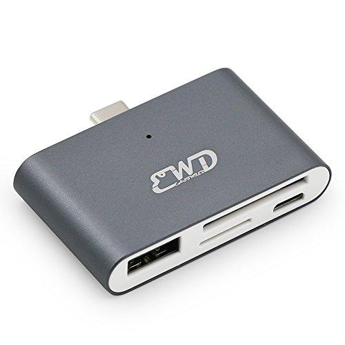USB Typ-C Hub OTG/TF/SD Smart Card Reader Adapter für 2016 MacBook Air Neue MacBook Pro 2017 PC Laptop und die Meisten USB Type-C Port Devices, EASTIWLD USB Typ C to USB 3.0 Extender (Grey)