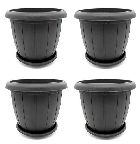 DARO DEKO Kunststoff Blumentopf 4 Stück - 11L anthrazit (Kunststoff-töpfe Für Pflanzen)