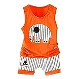 Topgrowth Tuta Neonato Set Bambini Canotta Stampa del Fumetto Maglietta A Senza Maniche Tank Top + Pantaloncini A Righe Bambino Outfits Sets