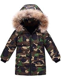 Jungen Winter Mantel Jacke Steppjacke Kinder Warme Verdickte Lange Camouflage Daunenjacken Trenchcoat Praka mit Fellkapuze