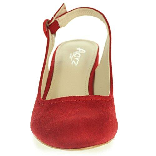 Femmes Dames Décontractée Confort Tous les jours Moyen Bloc Talon Slingback Des sandales Chaussures Taille Rouge