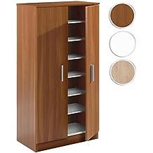 Habitdesign 007813C - Mueble zapatero Basic, armario zapatero dos puertas color Castaño, medidas: 108 cm alto x 55 cm ancho x 36 cm de fondo