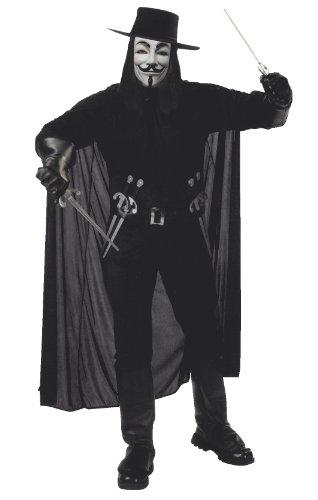 Mit V Vendetta Dolchen For Gürtel (V for Vendetta Kostüm für Erwachsene (Hemd, Hose mit Stiefelgamaschen, Hut, Maske & Gürtel mit 4)