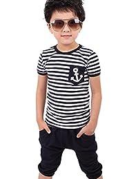 Tefamore ❤️Ropa para niños bebés Conjunto, Trajes de Camiseta y pantalón de Rayas Azules Marino de los Muchachos - 2-8 Años (Negro, 7-8 Años)