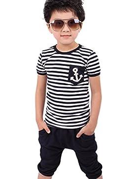 ❤️Ropa para niños bebés Conjunto, Tefamore Trajes de camiseta y pantalón de rayas azules marino de los muchachos...
