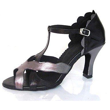 Silence @ Chaussures de danse pour femme en similicuir en similicuir latine/Jazz/Chaussures de swing/Salsa Sandales/talons Heelpractice/ noir