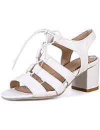 esSandalias Amazon Blancas Tacon Zapatos Para 45 De Mujer 8nXkONPwZ0