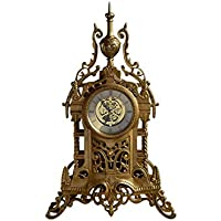 KinTTnyfgi Sencillo Vintage Mesa Reloj Decorativo Castillo Diseño Escritorio Reloj Cuarzo Silencioso Sin marcar Antiguo Bronce