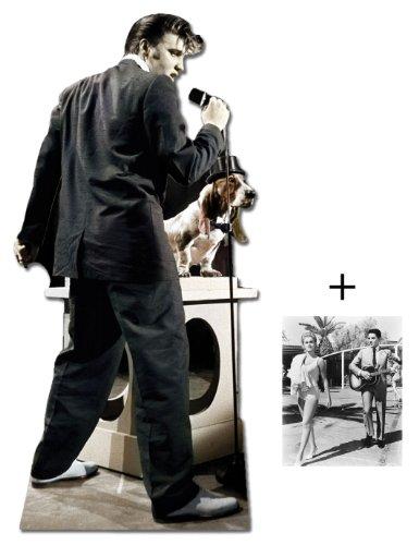 Elvis Presley Singing Mit Hound Dog - Lebensgrosse Pappfiguren / Stehplatzinhaber / Aufsteller - Enthält 8X10