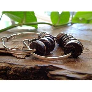 ❤ BREITE 3,5 CM CREOLEN & KOKOS HOLZ ETHNO BOHO TRIBAL ❤ auffällige, einmalige Ohrringe mit Holz