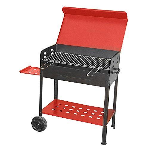 Barbecue à charbon 'Vanessa' en fer verni. Avec plateau latéral, étagère inférieure et roulettes. Grille en acier avec poignées et couvercle frontale.
