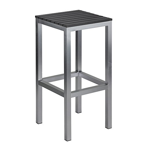 Cortesi Home Haven Aluminum Outdoor Backless Barstool in Slate Grey Poly Wood, Brushed Nickel