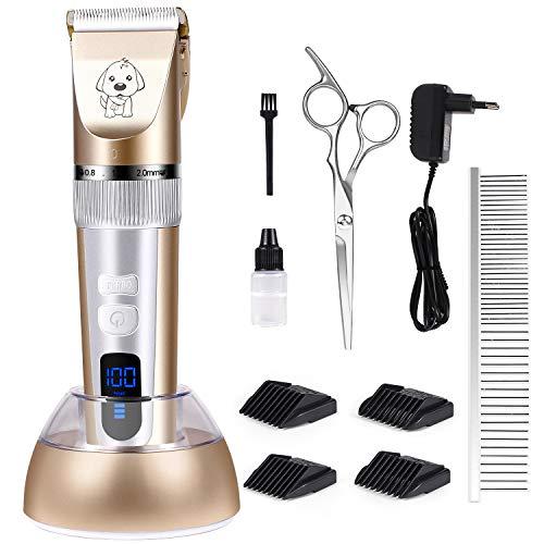 MILcea Tierhaarschneider Haarschneidemaschine Haarschneider Schermaschine Hundeschermaschine Elektrische Leise Haustier Grooming Clipper Kits Hund Katze mit LED Anzeige -