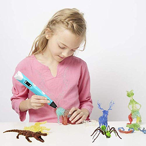 Lovebay 3D Drucker Stift DIY Scribbler 3D Stereoscopic Printing Pen mit LCD-Bildschirm + 3 X ⌀1,75 mm PLA Filament Blau Weiß Grüne,insgesamt 9M || für Kinder Anfänger Erwachsene Zeichnung - 6