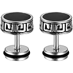 Sullery Crystal 8mm Barbell Dumbbell Silver and Black Stainless Steel Dumbell Stud Earring For Men and Girl