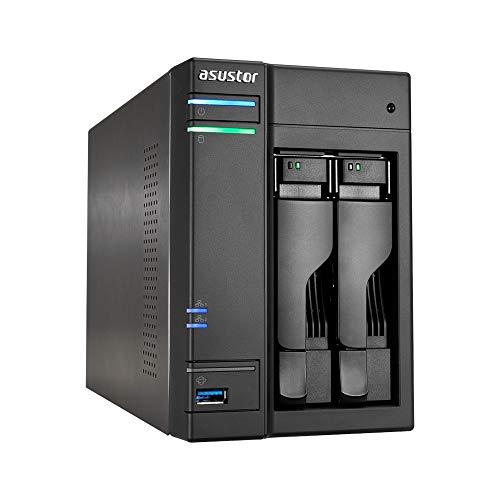 Asustor AS6302T 2-Bay NAS System (Intel Celeron- Apollo Lake, 2GB RAM, Gigabit-LAN mit Link-Aggregation, HDMI 2.0, HotSwap, Raid 0, 1, JBOD) schwarz