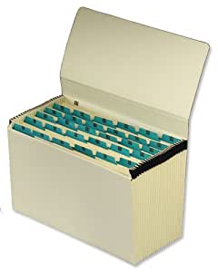5 Star De Luxe Expanding File with Flap 31 Pockets 1-31 Foolscap Buff