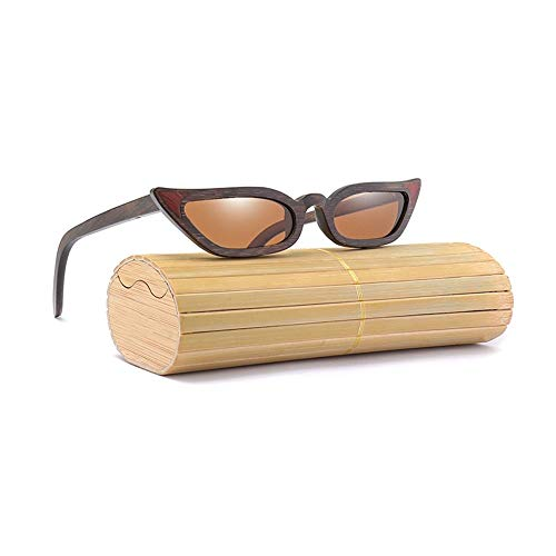 XXYHYQ Sunglasses Farbfilm polarisierten Sonnenbrillen für Frauen aus Holz Handmake New Cat Eye Full Frame Holz Sonnenbrillen Brille (Color : Brown)