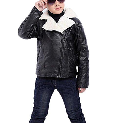 MILEEO Kinder Jungen PU Lederjacke kragen motorrad leder mantel Winter PU Leder Lokomotive Plus-Dicken Jacke, Plus-Dicken Schwarz, EU 134-140/Asia 140 (Schwarzes Leder-motorrad-jacke-mantel)
