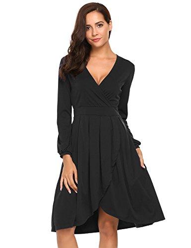 Beyove Damen V Ausschnitt Langarm Kleid Vintage Abendkleid Wickelkleid Knielang Mit Revers Kragen Freizeitkleid Casual Skaterkleid