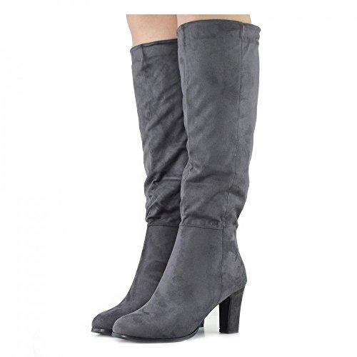 Womens Stivali alti Blocco Tacco Casual in pelle Scamosciata zip all'Interno di Smart Stili di guida Stivali Grigio
