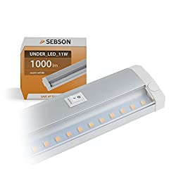 SEBSON® LED Under Cabinet Light 60cm, Light bar 11W, 1000lm, warm white, expandable