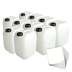 Trevendo 10 x 10 Liter Kanister lebensmittelecht, stapelbar, inkl. Beschriftungsetiketten