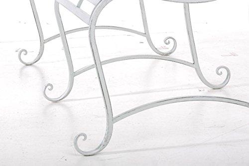 CLP Gartenbank ROY im Landhausstil, aus lackiertem Eisen, 129 x 69 cm – aus bis zu 6 Farben wählen Antik Weiß - 8