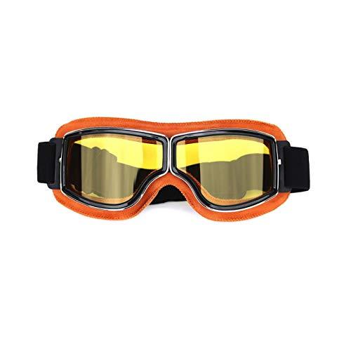DOLOVE Vintage Motorradbrille Motocross Brille Winddicht Damen Herren Schutzbrille Antibeschlag Gelb