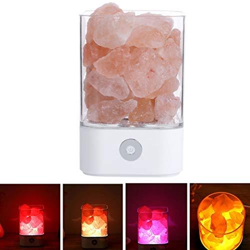 Jasmin FS Sunshine M4 Creative Himalaya Kristallsalzlampe USB-Ladung Gesunde Tisch Schreibtischlampe Nachtlicht mit Sockel LED dekoratives Licht (Farbe : Weiß) -