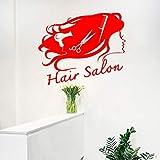 xingbuxin Adesivo Murale Parrucchiere Parrucchiere Salone di Bellezza Adesivo murale Donna Barbiere Forbici Asciugacapelli Simbolo Art Design Decor 2 50x42cm