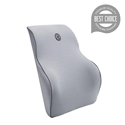FMS Coussin lombaire Memory Foam soutien lombaire coussin avec taie d'oreiller amovible Nouveau Design Orthopédique pour Mal au Dos (43*38*12 cm, Gris)