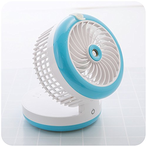 OME&QIUMEI Usb Fan Portable Student Portable Desktop Rechargeable Portable Fan (12*9.5Cm) Sky Blue