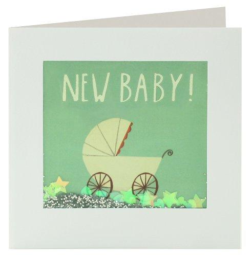 """James Ellis Shakies - Tarjeta de felicitación, diseño de carrito de bebé y texto """"new baby"""""""