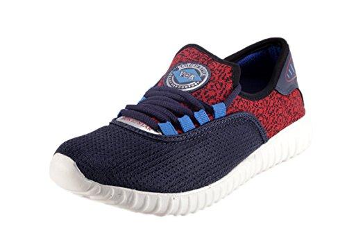 Vokstar Men Blue Synthetic Running Shoes (VS-824_NBLU/ RED_8) - 8 UK