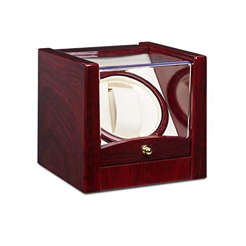 Klarstein Cannes Uhrenbeweger • Uhrendreher • Uhrenbox • für 1 x Automatikuhr • Links-Rechts-Lauf • Sichtfenster • max. 2160 Umdrehungen pro Tag • Kunstleder • Rosenholzoptik - Box Rolex