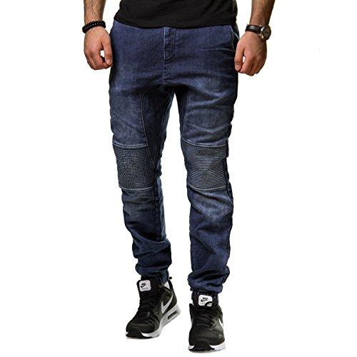 Tazzio Jeans Herren Crotch Hose Drop Slim Fit Cuffed Jogger Zipper Gerippt Blau 16504 Blau