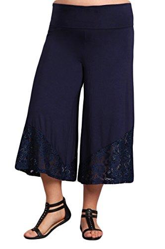 HEYHUN Damen Caprihose mit breitem Bein, ausgestellt, mit Spitzendetail - Blau - Groß -