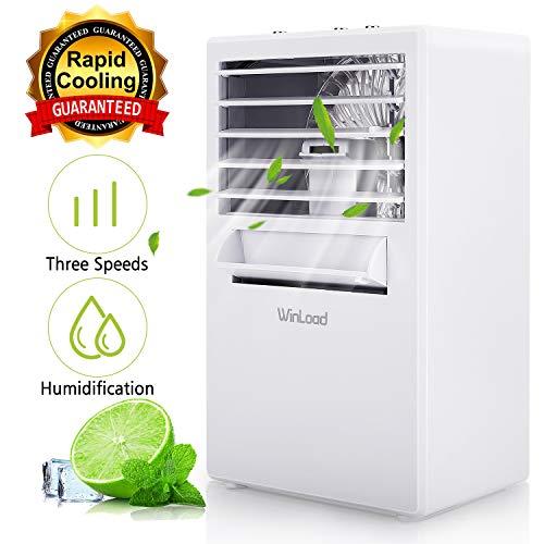 Winload Mini Luftkühler 3 in 1, Mini Klimaanlage Tragbare, 3 Leistungsstufen, Mini Klimagerät mit Wasserkühlung, Luftbefeuchter, Luftreiniger, Mini Air Cooler für Den Büro-Haushalt
